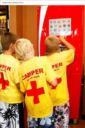 Young Californians experience the new Coca-Cola Freestyle (TM) fountain dispenser for the first time at a Jack in the Box in Vista, Calif.
