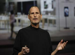 Apple CEO Steve Jobs appears at Apple's special media event to introduce the second generation iPad earlier this month.