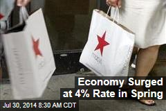 Economy Surged at 4% Rate in Spring